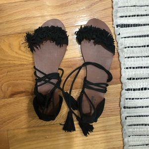 Black ruffle tie up sandals